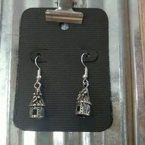 Woodland birdhouse earrings